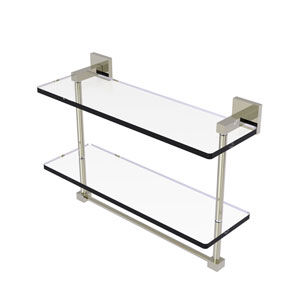 Montero Polished Nickel 16-Inch Two Tiered Glass Shelf with Integrated Towel Bar