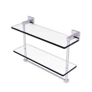 Montero Satin Chrome 16-Inch Two Tiered Glass Shelf with Integrated Towel Bar
