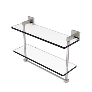 Montero Satin Nickel 16-Inch Two Tiered Glass Shelf with Integrated Towel Bar