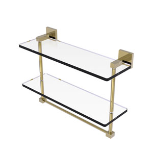 Montero Unlacquered Brass 16-Inch Two Tiered Glass Shelf with Integrated Towel Bar