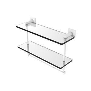 Montero Matte White 16-Inch Two Tiered Glass Shelf with Integrated Towel Bar
