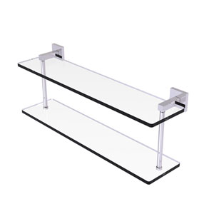 Montero Polished Chrome 22-Inch Two Tiered Glass Shelf