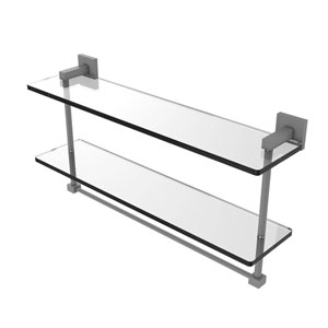 Montero Matte Gray 22-Inch Two Tiered Glass Shelf with Integrated Towel Bar