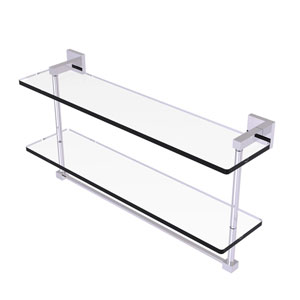 Montero Polished Chrome 22-Inch Two Tiered Glass Shelf with Integrated Towel Bar
