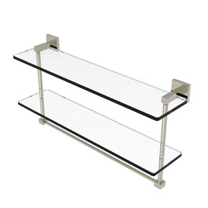 Montero Polished Nickel 22-Inch Two Tiered Glass Shelf with Integrated Towel Bar