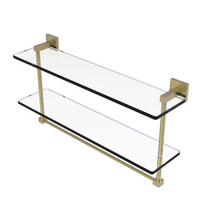 Montero Satin Brass 22-Inch Two Tiered Glass Shelf with Integrated Towel Bar