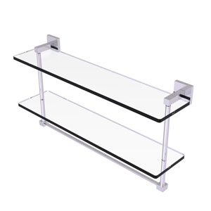 Montero Satin Chrome 22-Inch Two Tiered Glass Shelf with Integrated Towel Bar