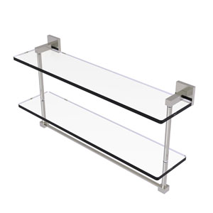 Montero Satin Nickel 22-Inch Two Tiered Glass Shelf with Integrated Towel Bar