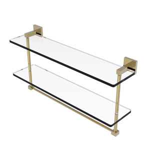 Montero Unlacquered Brass 22-Inch Two Tiered Glass Shelf with Integrated Towel Bar
