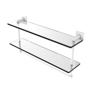 Montero Matte White 22-Inch Two Tiered Glass Shelf with Integrated Towel Bar