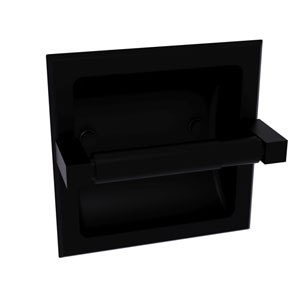 Montero Matte Black Six-Inch Recessed Toilet Paper Holder