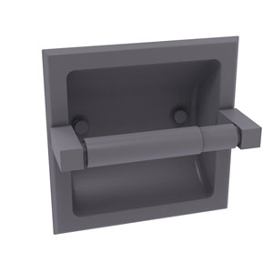 Montero Matte Gray Six-Inch Recessed Toilet Paper Holder