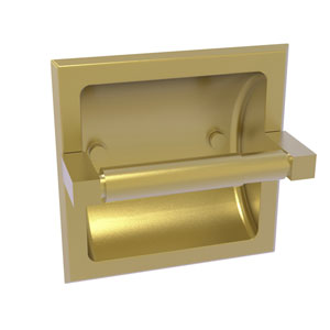 Montero Satin Brass Six-Inch Recessed Toilet Paper Holder