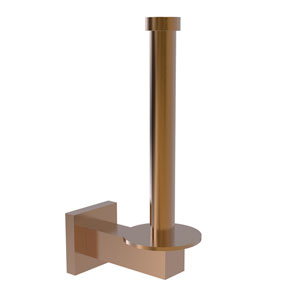 Montero Brushed Bronze Four-Inch Upright Toilet Tissue Holder and Reserve Roll Holder