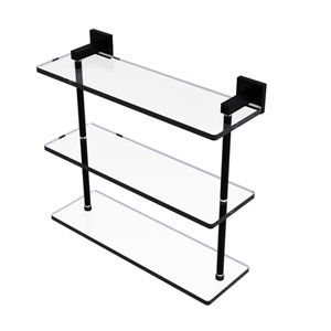 Montero Matte Black 16-Inch Triple Tiered Glass Shelf