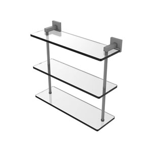 Montero Matte Gray 16-Inch Triple Tiered Glass Shelf