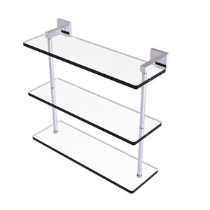 Montero Polished Chrome 16-Inch Triple Tiered Glass Shelf