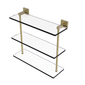 Montero Satin Brass 16-Inch Triple Tiered Glass Shelf