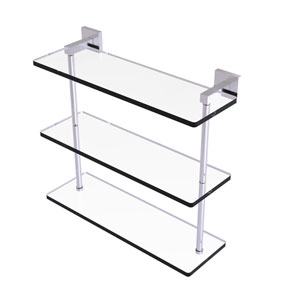 Montero Satin Chrome 16-Inch Triple Tiered Glass Shelf