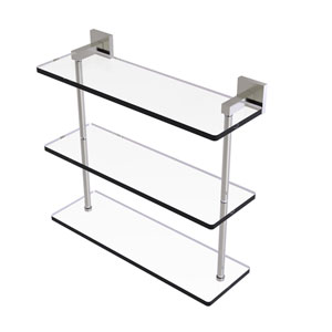 Montero Satin Nickel 16-Inch Triple Tiered Glass Shelf