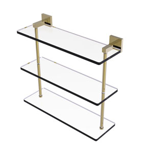 Montero Unlacquered Brass 16-Inch Triple Tiered Glass Shelf