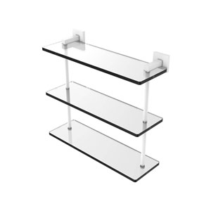 Montero Matte White 16-Inch Triple Tiered Glass Shelf
