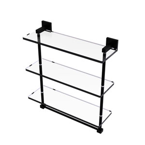 Montero Matte Black 16-Inch Triple Tiered Glass Shelf with Integrated Towel Bar