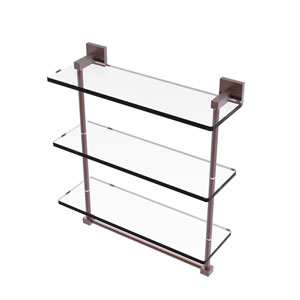 Montero Antique Copper 16-Inch Triple Tiered Glass Shelf with Integrated Towel Bar