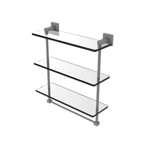 Montero Matte Gray 16-Inch Triple Tiered Glass Shelf with Integrated Towel Bar