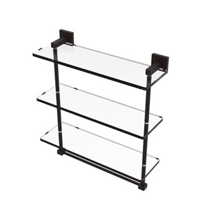 Montero Oil Rubbed Bronze 16-Inch Triple Tiered Glass Shelf with Integrated Towel Bar