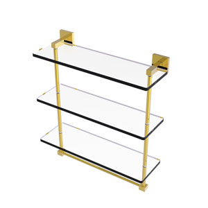 Montero Polished Brass 16-Inch Triple Tiered Glass Shelf with Integrated Towel Bar