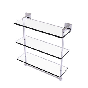 Montero Polished Chrome 16-Inch Triple Tiered Glass Shelf with Integrated Towel Bar