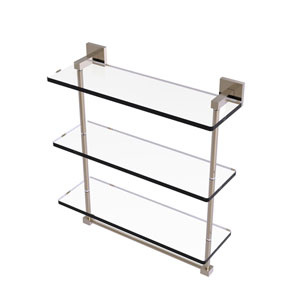 Montero Antique Pewter 16-Inch Triple Tiered Glass Shelf with Integrated Towel Bar