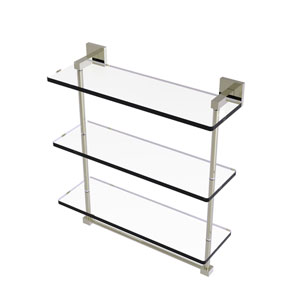 Montero Polished Nickel 16-Inch Triple Tiered Glass Shelf with Integrated Towel Bar