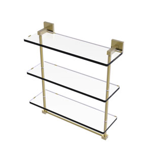 Montero Satin Brass 16-Inch Triple Tiered Glass Shelf with Integrated Towel Bar