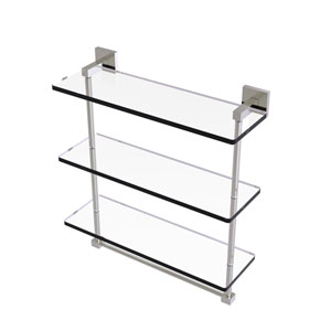 Montero Satin Nickel 16-Inch Triple Tiered Glass Shelf with Integrated Towel Bar