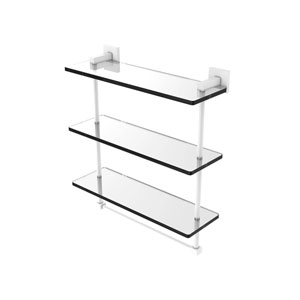 Montero Matte White 16-Inch Triple Tiered Glass Shelf with Integrated Towel Bar