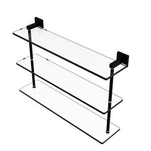 Montero Matte Black 22-Inch Triple Tiered Glass Shelf