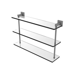 Montero Matte Gray 22-Inch Triple Tiered Glass Shelf