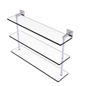 Montero Polished Chrome 22-Inch Triple Tiered Glass Shelf