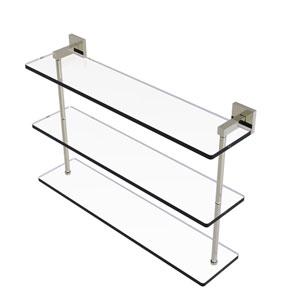 Montero Polished Nickel 22-Inch Triple Tiered Glass Shelf