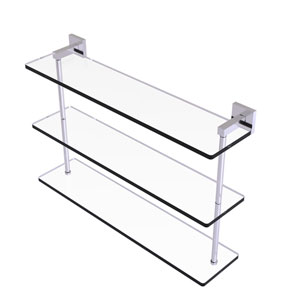 Montero Satin Chrome 22-Inch Triple Tiered Glass Shelf