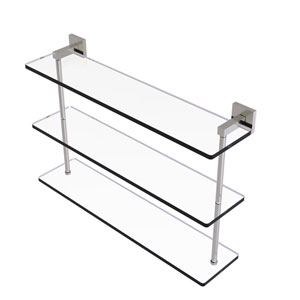 Montero Satin Nickel 22-Inch Triple Tiered Glass Shelf