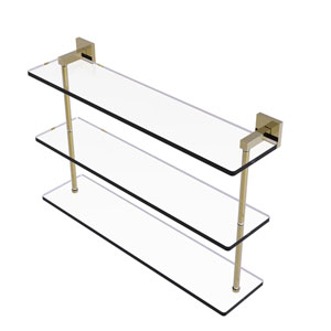 Montero Unlacquered Brass 22-Inch Triple Tiered Glass Shelf