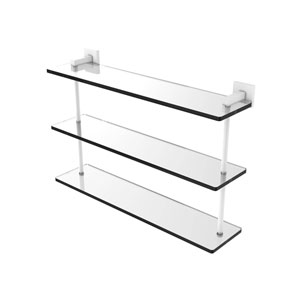 Montero Matte White 22-Inch Triple Tiered Glass Shelf
