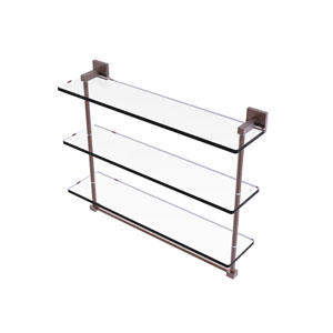 Montero Antique Copper 22-Inch Triple Tiered Glass Shelf with Integrated Towel Bar