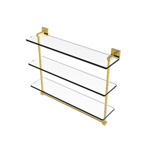 Montero Polished Brass 22-Inch Triple Tiered Glass Shelf with Integrated Towel Bar