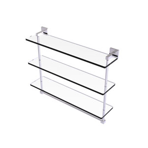 Montero Polished Chrome 22-Inch Triple Tiered Glass Shelf with Integrated Towel Bar