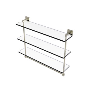 Montero Polished Nickel 22-Inch Triple Tiered Glass Shelf with Integrated Towel Bar