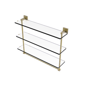 Montero Satin Brass 22-Inch Triple Tiered Glass Shelf with Integrated Towel Bar